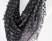 Black Cotton Scarf With Fringed Lace, Gift, Headband, Cowl, White Flowers