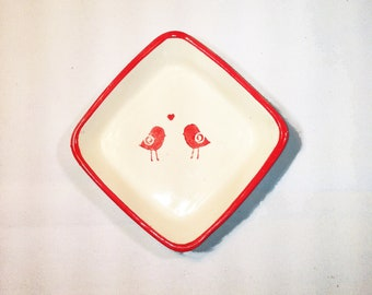 Red and White Kissy Birdie Square Dish Plate Ceramic Pottery Ohio USA Handmade