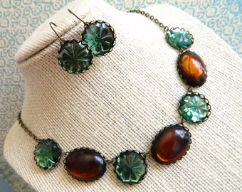 Cinnamon and Sage Necklace Set, Amber Topaz  Green, Vintage Necklace, Bohemian, Rustic, Glam, Green & Brown, Vintage Jewelry, Vintage Jewels