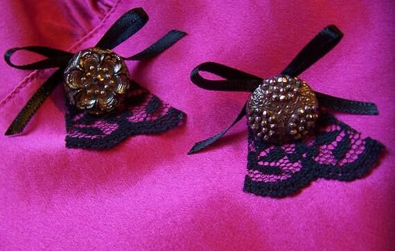 Spanish Fly Earrings - Black Lace Victorian Button Earrings - Silver Lustre Glass Buttons - Handmade OOAK - Boho Elegant Sexy