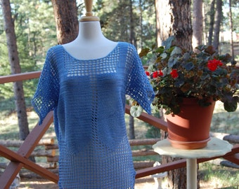 Crochet Tunic Cover Up Warm Blue 100% cotton Medium/Large