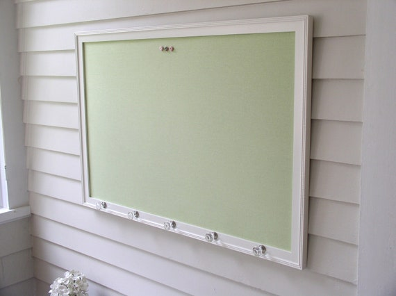 Wall Organizer Bulletin Board - Deluxe Magnet Board X-Large in Pale Green - Framed Magnetic Memo Board with Handmade Frame and Glass Knobs