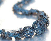Quartz Enamel Yarn Necklace - Hand-knitted from Teal Colored Nylon Yarn with Smoky Quartz Chips and Enamel Focal Beads