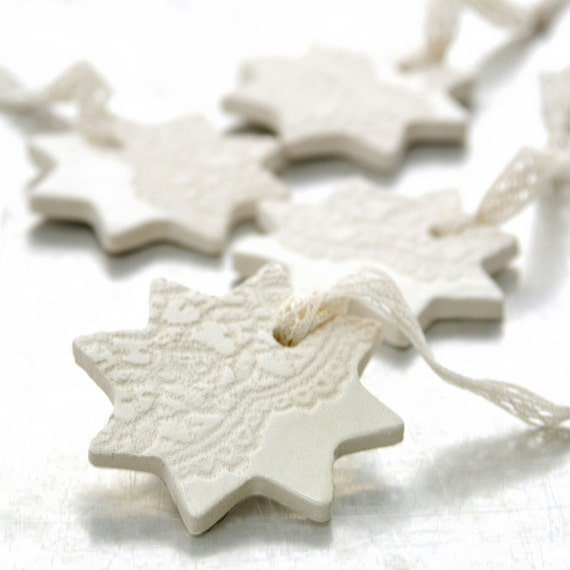 Ceramic Ornament with Lace Impression Christmas Holiday Decoration White Star - Etsy Front Page