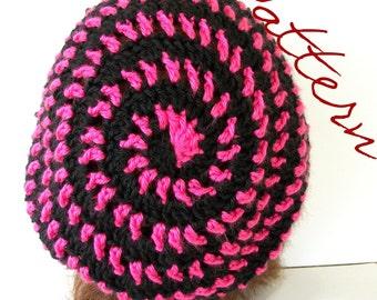 Crochet Pattern Slouch Hat Spiral Striped Tam PDF File