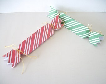 """Printable Christmas """"Cracker"""" Shape Gift Box Favor Boxes Green Spearmint and Red Peppermint"""