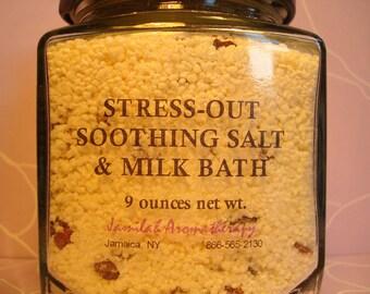 Stress Out Soothing Premium Dead Sea Salt & Milk Bath for a Relaxing, Moisturizing, Hydrating - Bath Salt, Bath Soak, 9 oz.
