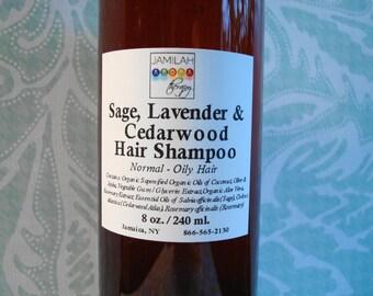 Organic & Wildcrafted Sage, Lavender and Cedarwood Hair Shampoo, Stimulating, Hair Growth, Dark or Light Hair Care, Hair Loss, 8 oz./240 ml.