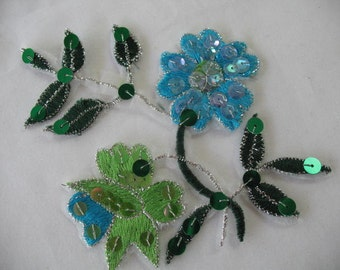 2 FLOWER  IRON ON Appliques .