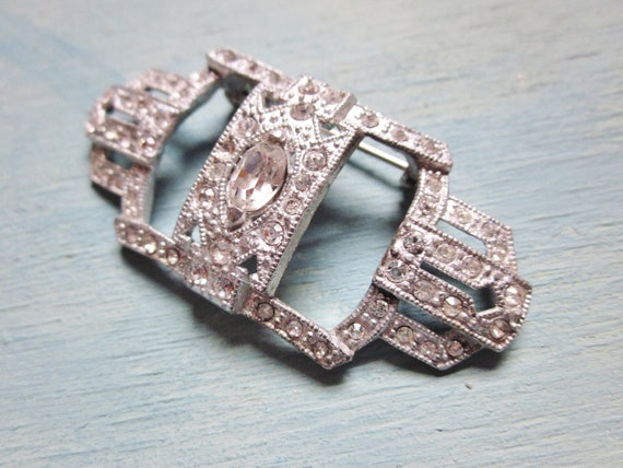Art Deco Rhinestone Brooch White Cast Pot Metal 1930s Vintage Wedding Jewelry