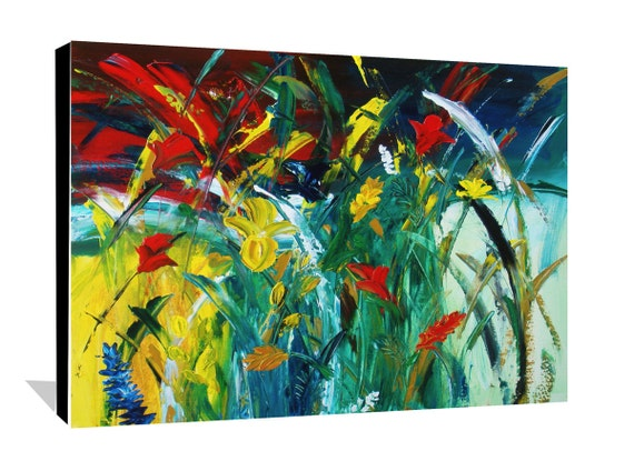Abstract Garden Painting Flower Painting Abstract Floral Painting Original Abstract Flowers Painting on Canvas Wall Decor Art 30x24 by Day