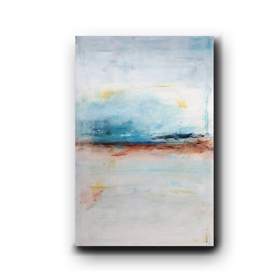 Large Abstract Painting Minimalist Art Shabby Chic Style Original Painting on Canvas Blue Painting Contemporary Art 36x24 by Heather Day