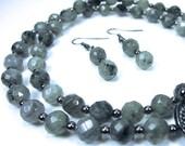 Faceted Labradorite Necklace Earring Gemstone Combo Gunmetal