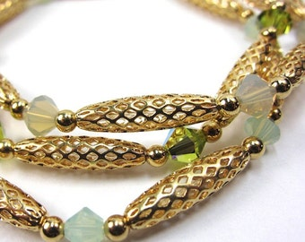 Green Stretch Bracelets with Swarovski Crystals, Set of Three, S-28