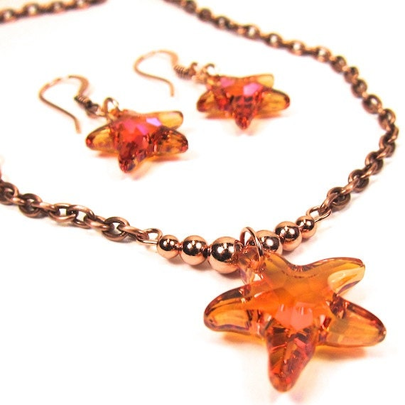 Orange Pink Swarovski Starfish Crystal Necklace Combo Astral Pink Copper