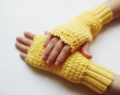 ready to ship Hand knitted Fingerless Gloves mittens yellow christmas gift for her