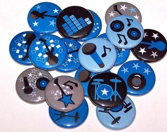"""Rock Star Blue Set of 10 Buttons 1"""" Pin Back Buttons or 1"""" Magnets"""
