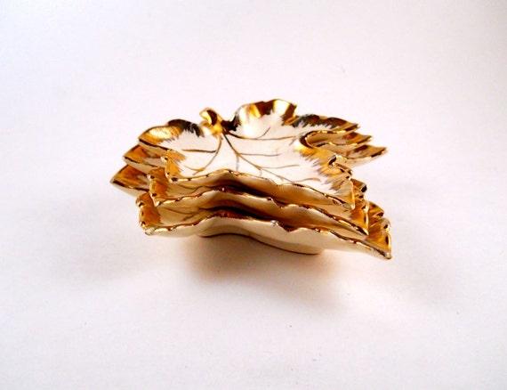 Three Vintage Nesting Porcelain Leaf Dishes