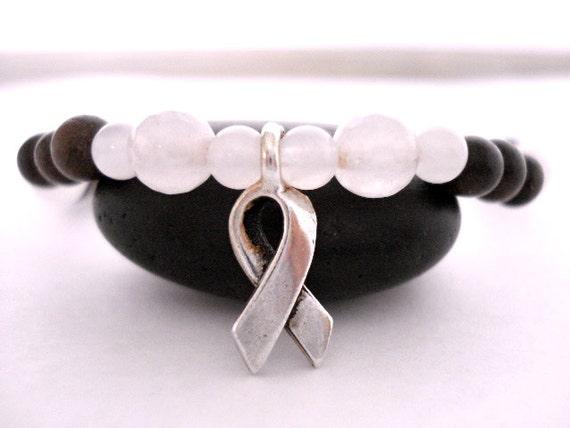Breast Cancer Awareness Yoga Bracelet, Rose Quartz and Mala Bead Silver Awareness Ribbon Bracelet