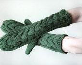 Twilight Bella Mittens - Hand Knit - Women's - Green - Gift Ideas