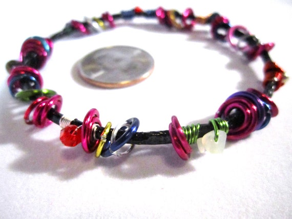 Black Bangle with Multi-Color Jump Rings & Beads