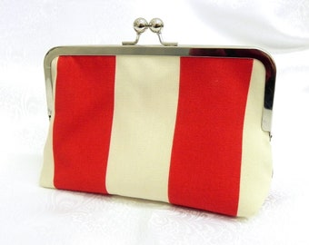 Red and Cream Clutch - Nautical Stripes - Silver kisslock frame