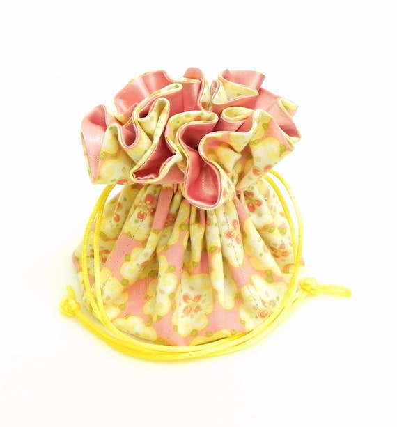 Drawstring Jewelry Pouch - Pink and yellow floral travel bag