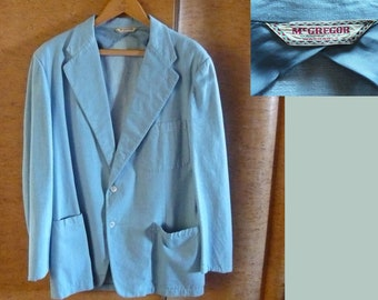 Light blue 1950s vintage men's Mc Gregor jacket sport coat cotton twill rare bigger size rockabilly hepcat 50s