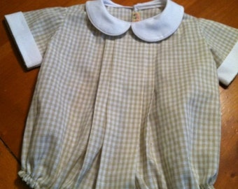 Boy Bubble tan gingham check size 12 months