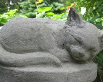 Concrete SLEEPING CAT Statue