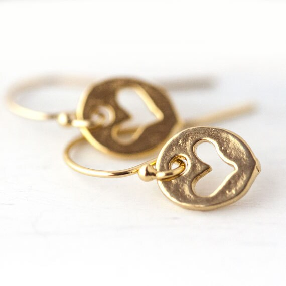 Heart Cut-out Earrings / Small Romantic Vermeil Gold Earrings / Tiny Heart Earrings
