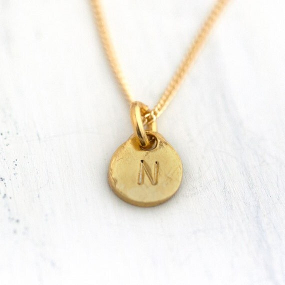Tiny Gold Initial Necklace / Hand Stamped Disc Personalized Necklace / Monogrammed Gift