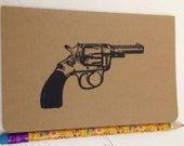 Small Kraft Moleskine Cahier Notebook with Revolver- Unlined