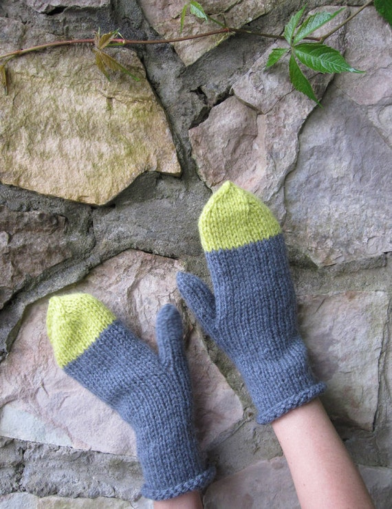 Hand-knitted mittens