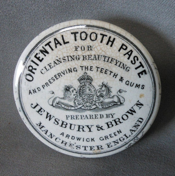 19thC Oriental Tooth Paste English Staffordshire Advertising Pot Lid