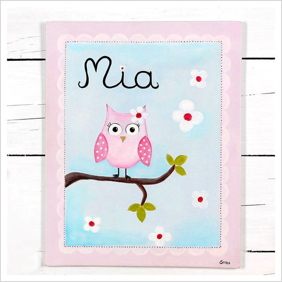 Blush Pink Owl - Personalized painting - Baby Shower Decoration - Personalized Custom Canvas Name Painting  - Baby Girl Nursery Painting