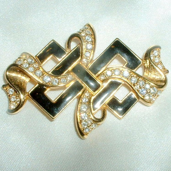 Vintage Swarovski Crystal and Black Enamel Brooch