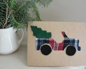 Plaid Christmas Jeep With Tree - Reserved for Karen