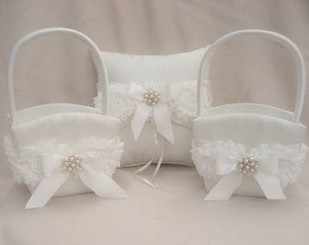 Two Flower Girl Baskets and Ring Bearer Pillow Set Flower Girl Basket and Pillow, Shabby Chic Vintage Ivory and Cream Custom Colors too