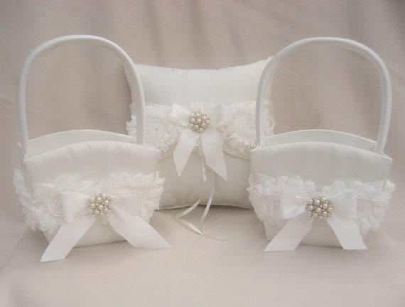 Two Flower Girl Baskets And Ring Bearer Pillow Set Flower