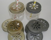 """SALE....Daisy Cut Mason Jar LIDS...24 count...Your Choice...""""Pewter"""" Lids or """"Gold""""' Lids For Plastic or Glass Mason Jars Weddings"""
