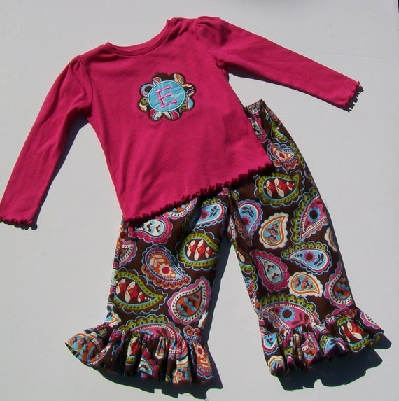 Girl's Ruffle Pant and Long Sleeve Shirt Outfit - Brown Multi Colored Paisley with Pink Personalized Flower Shirt