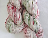 Hand dyed Sock Yarn Superwash Merino and Nylon  - Peppermint Bark