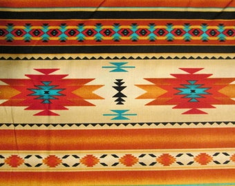Traditional Navajo Gold Teal Border Cotton Flannel Fat Quarter or Custom Listing
