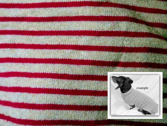 Custom dachshund sweater jumper striped deep pink/crimson and cream handmade pets clothing
