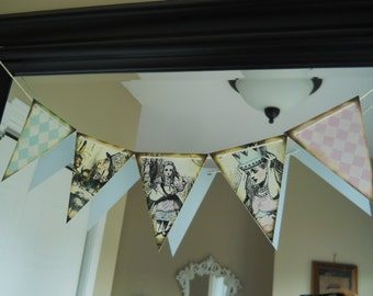 Alice In Wonderland Birthday, Alice in wonderland Banner, Alice bunting, Alice party, Alice favor, Alice tags, Alice in wonderland theme