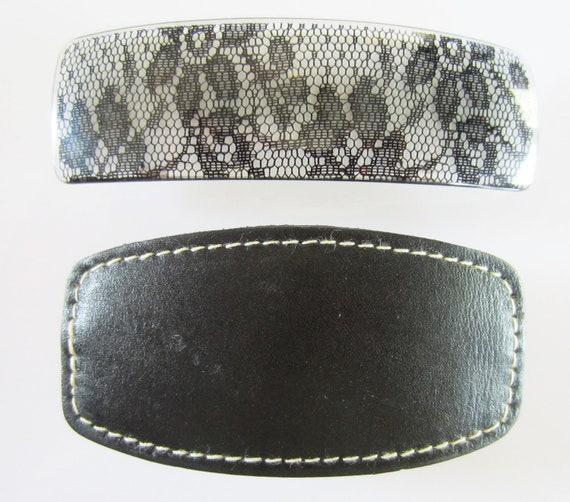 "2 Vintage Barrettes, Each B/W 3""-4"", 1 Leather, 1 Plastic Black Lace Look"