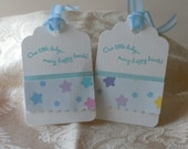 Gift Tags ( set of 6 ) , baby, boy,  Great for Gifts , baby shower favors, blue