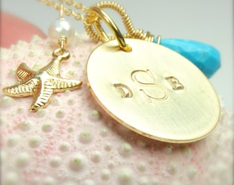Monogrammed Starfish Necklace ) Bridesmaid Gifts, Jewelry, Bridesmaid Thank You Gifts, Initial Jewelry
