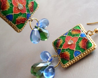 Enamel and Crystal Teardrop Earrings